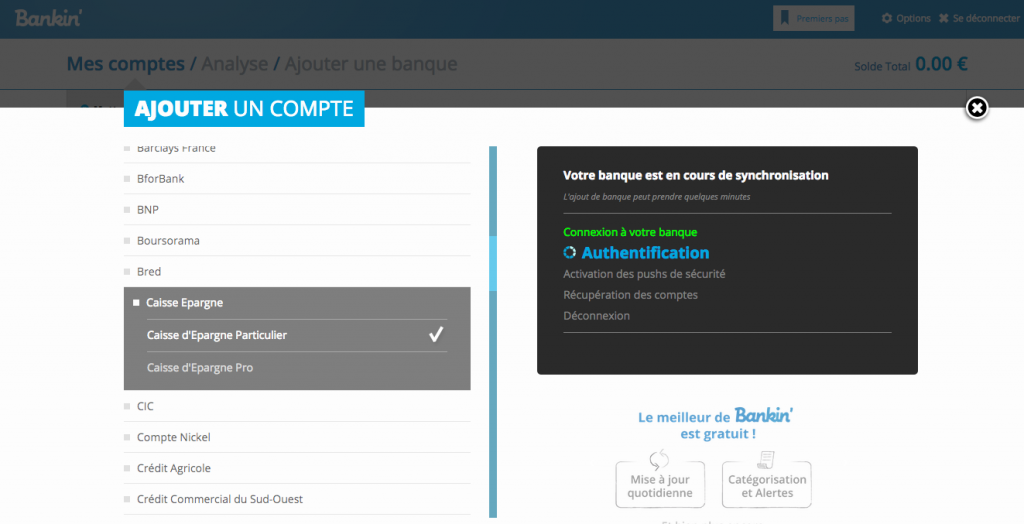bankin ajout compte