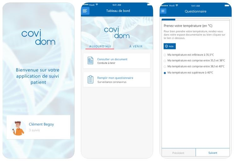 Ecran application Covidom